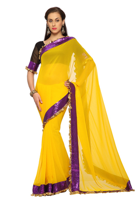 Yellow Embroidered Faux georgette Saree With Blouse (1493)