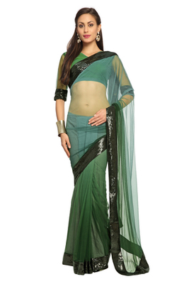 Deep Sea Green Embroidered Net Saree With Blouse (1499)