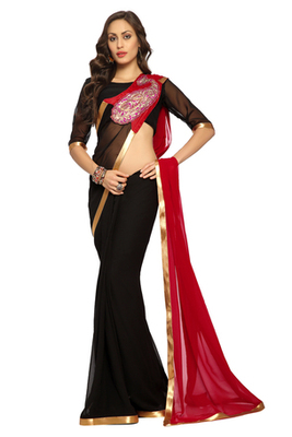 Black Embroidered Faux georgette Saree With Blouse (1506)