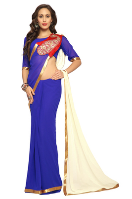 Blue / White Embroidered Faux georgette Saree With Blouse (1507)