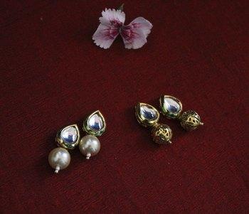 Shell Pearl and Gold Kundan Studs - Set of 2