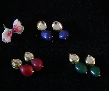 Red Green and Blue Stone Kundan Studs - Set of 3