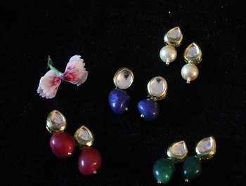 Pearl Green Red and Blue Stone Kundan Studs - Set of 4