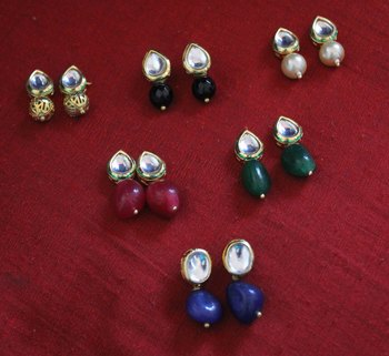 Multicoloured Kundan Studs - Set Of 6