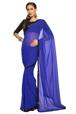 Deep Blue Embroidered Faux georgette Saree With Blouse (1517)