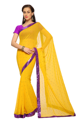 Deep Yellow Embroidered Faux georgette Saree With Blouse (1524)