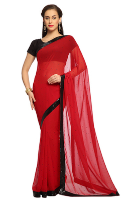 Deep Red Embroidered Faux georgette Saree With Blouse (1526)