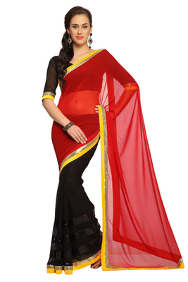 Black / Deep Red Embroidered Faux georgette Saree With Blouse (1530)