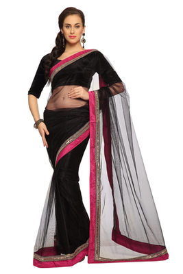 Black Embroidered Net Saree With Blouse (1531)