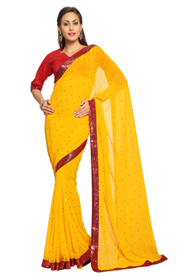 Yellow Embroidered Faux georgette Saree With Blouse (1533)