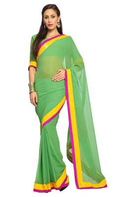 Green Embroidered Faux georgette Saree With Blouse (1542)