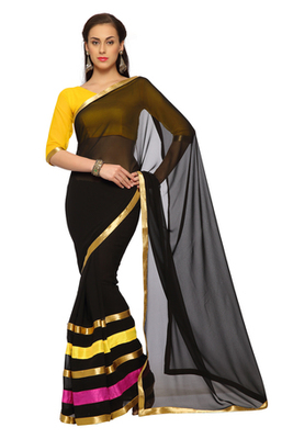 Black Printed Faux georgette Saree With Blouse (1543)