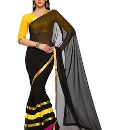 Buy Black Printed Faux georgette Saree With Blouse (1543) georgette-saree online