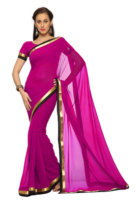 Dark Magenta Printed Faux georgette Saree With Blouse (1548)