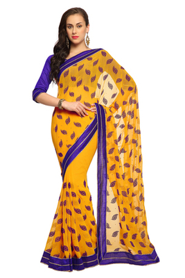 Deep Yellow Embroidered Faux georgette Saree With Blouse (1549)