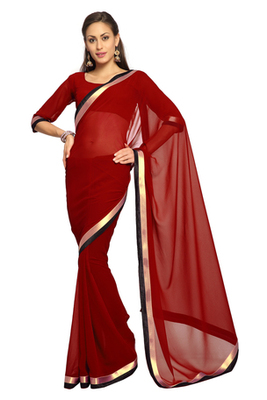 Maroon Printed Faux georgette Saree With Blouse (1551)