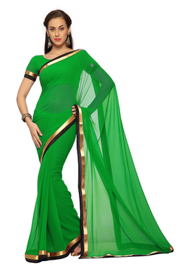 Deep Green Printed Faux georgette Saree With Blouse (1554)