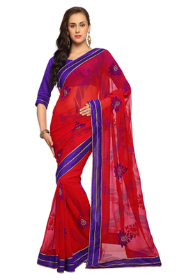 Deep Red Embroidered Faux georgette Saree With Blouse (1555)