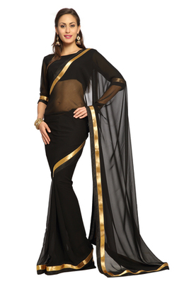 Black Printed Faux georgette Saree With Blouse (1558)