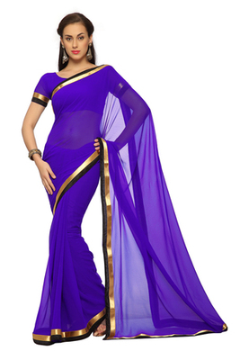Dark Purple Printed Faux georgette Saree With Blouse (1560)