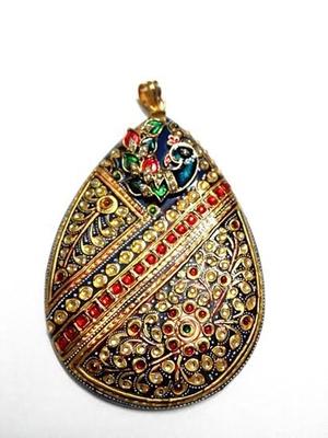 tanjore work peacock pendant