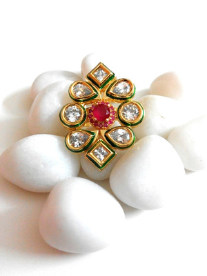 royal kundan and ruby ring