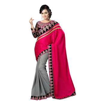 Hypnotex Pink Grey Embroidered Crepe Jacquard Georgette Saree With Blouse