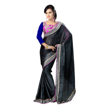 Hypnotex Black Embroidered Chiffon Print Saree With Blouse