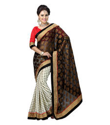 Buy Hypnotex Black Off White Embroidered Net Viscose Crepe Butti Saree With Blouse bridal-saree online