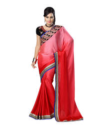 Buy Hypnotex Maroon Embroidered Satin Chiffon Saree With Blouse bridal-saree online