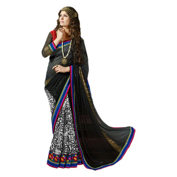 Hypnotex Off White  Black Grey Embroidered Georgette Art Silk Saree With Blouse
