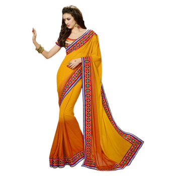 Hypnotex Orange Embroidered Georgette Saree With Blouse
