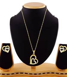 Love Heart Shape Gold Finishwhite Stone Girls Like Pendant Set