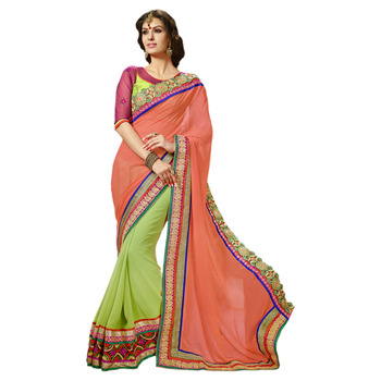 Hypnotex Green Orange Embroidered Georgette Saree With Blouse