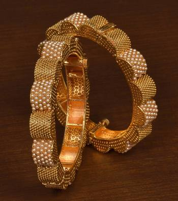 Gold plated gheru copper made  openable bangles-and-bracelets