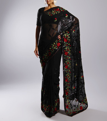 Multiclored designer Full embroidered sari in synthetic blend without  blouse