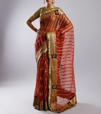 Maroon & Golden designer net sari with heavy work & border without blouse