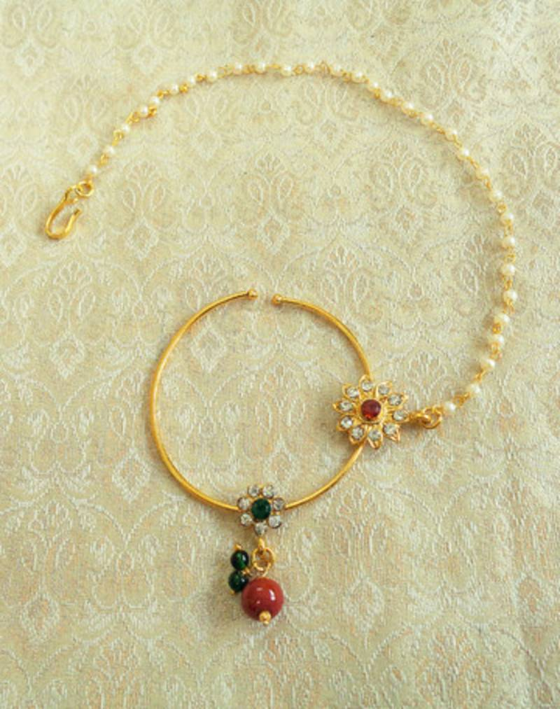 Lalso Multicolour Big Size Pearl Chain Bridal Nose Ring Pin