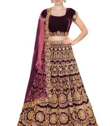 Buy  Wine embroidered semi velvet semi stitched lehenga choli material with matching net dupatta party-lehenga online