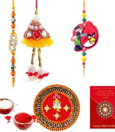 Buy Ethnic Meenakari Pooja Thali Raksha Bandhan Gift thread-rakhi online