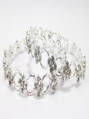 9blings silver plated cz 2pc bangle l153s