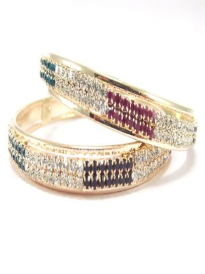 9blings multicolor cz gold plated 2pc bangle l11006