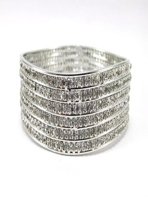 9blings rhinestone silver plated 1pc bangle l25189