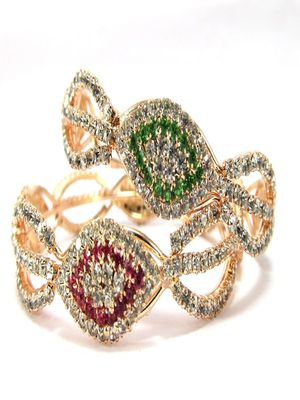 9blings multicolor cz rose  gold plated 2pc bangle l1520