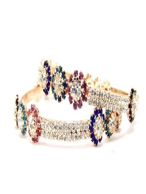 9blings floral  multicolor cz gold plated 2pc bangle l1650