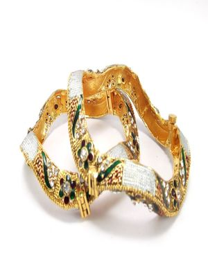 9blings indian bridal ruby emerald cz gold plated 2pc bangle  l28033