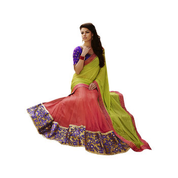 Ethnic Basket Georgette and Net Green With Pink Colored Saree.With Blouse