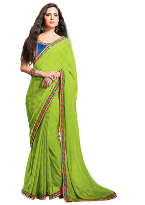 Ethnic Basket Georgette Green Colored Saree.With Blouse