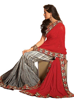 Ethnic Basket Georgette and Brasso Maroon With Cream Colored Saree.With Blouse