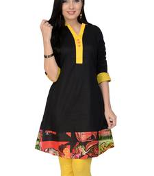Black printed cotton stitched kurtas-and-kurtis